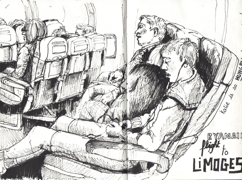 Plane sketch in pen by Sophie Peanut