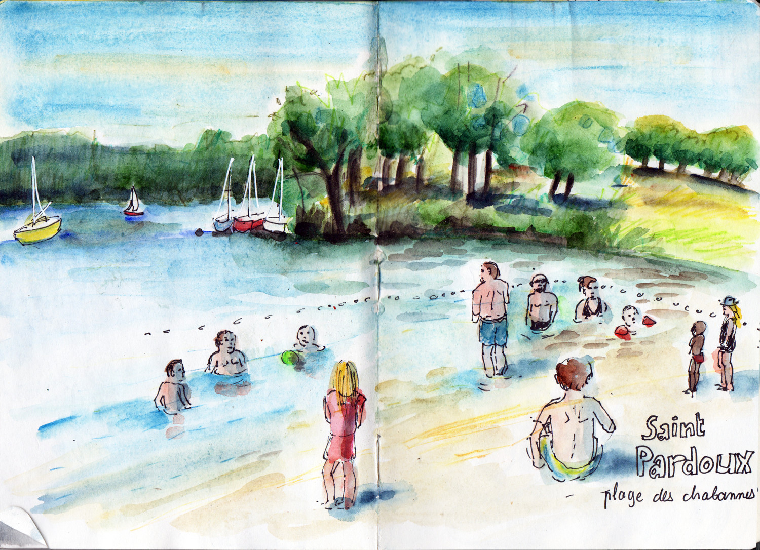 Lac de St Pardoux - Beach in pen and watercolour