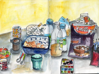 Holiday Breakfast Table in epn and watercolour by Sophie Peanut
