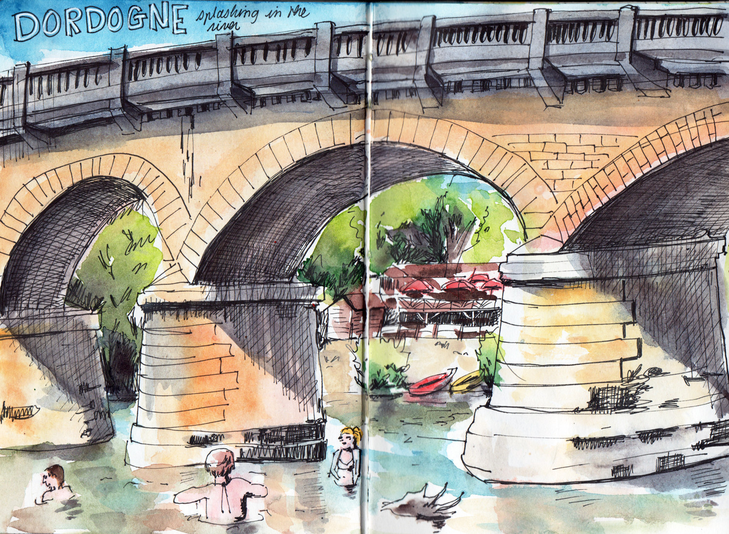 River side near Sarlat Dordogne France - Pen and watercolour by Sophie Peanut