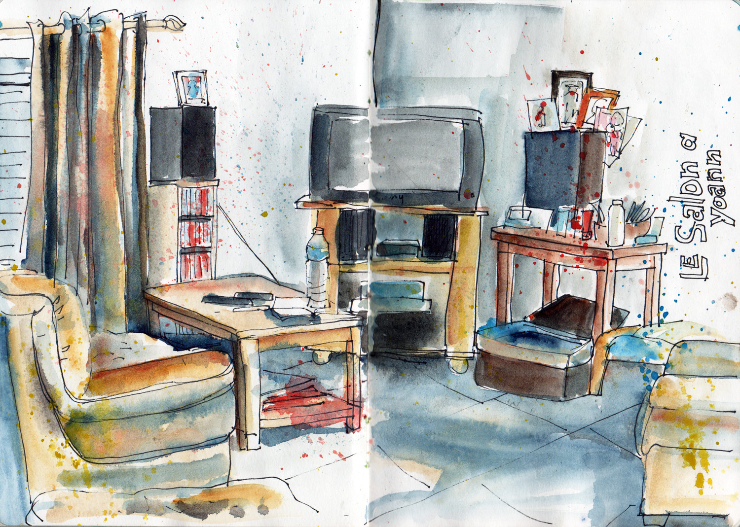 Interior sketch in pen and watercolour by Sophie Peanut
