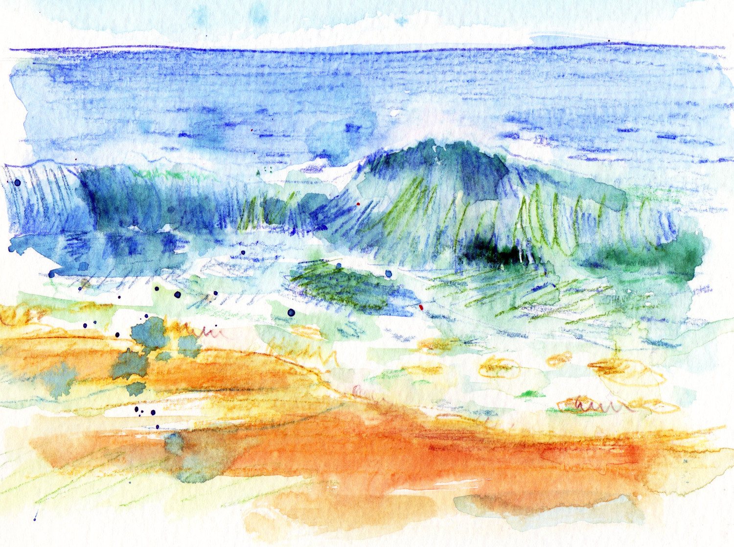 Sketch of the sea, waves by Sophie Peanut