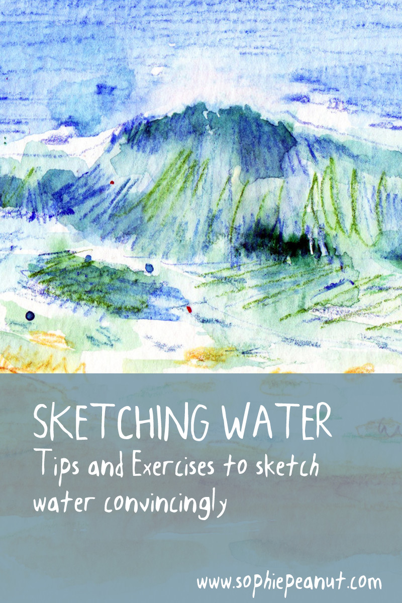 Sketching water - Tips to sketch water in pen, pencil and watercolour