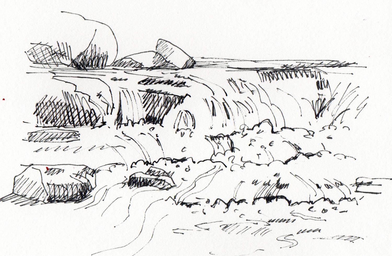 Sketching Water by Sophie Peanut - Bronte Waterfalls