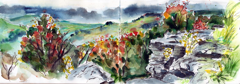Painting Autumn Scenes - Albert Promenade Halifax - Sketch by Sophie Peanut