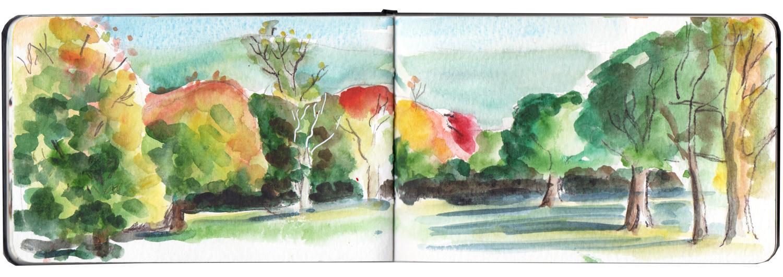 Autumn Scene in Manor Heath Park Halifax - Watercolour sketch by Sophie Peanut