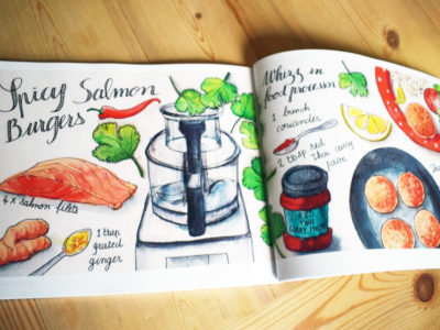 Spicy Salmon Burgers Illustrated Recipe by Sophie Peanut