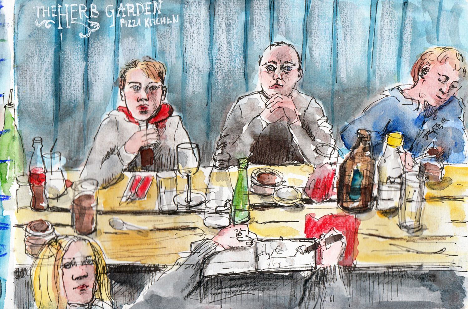 People sketches by Sophie Peanut - Out for dinner with the family