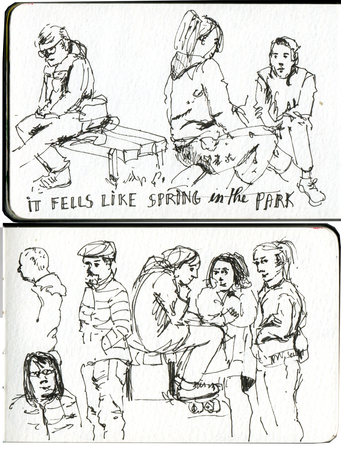 Quick people sketches in the park