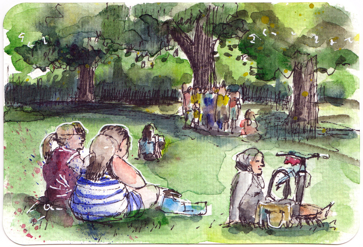 Watercolour postcard - warm spring day in the park by Sophie Peanut