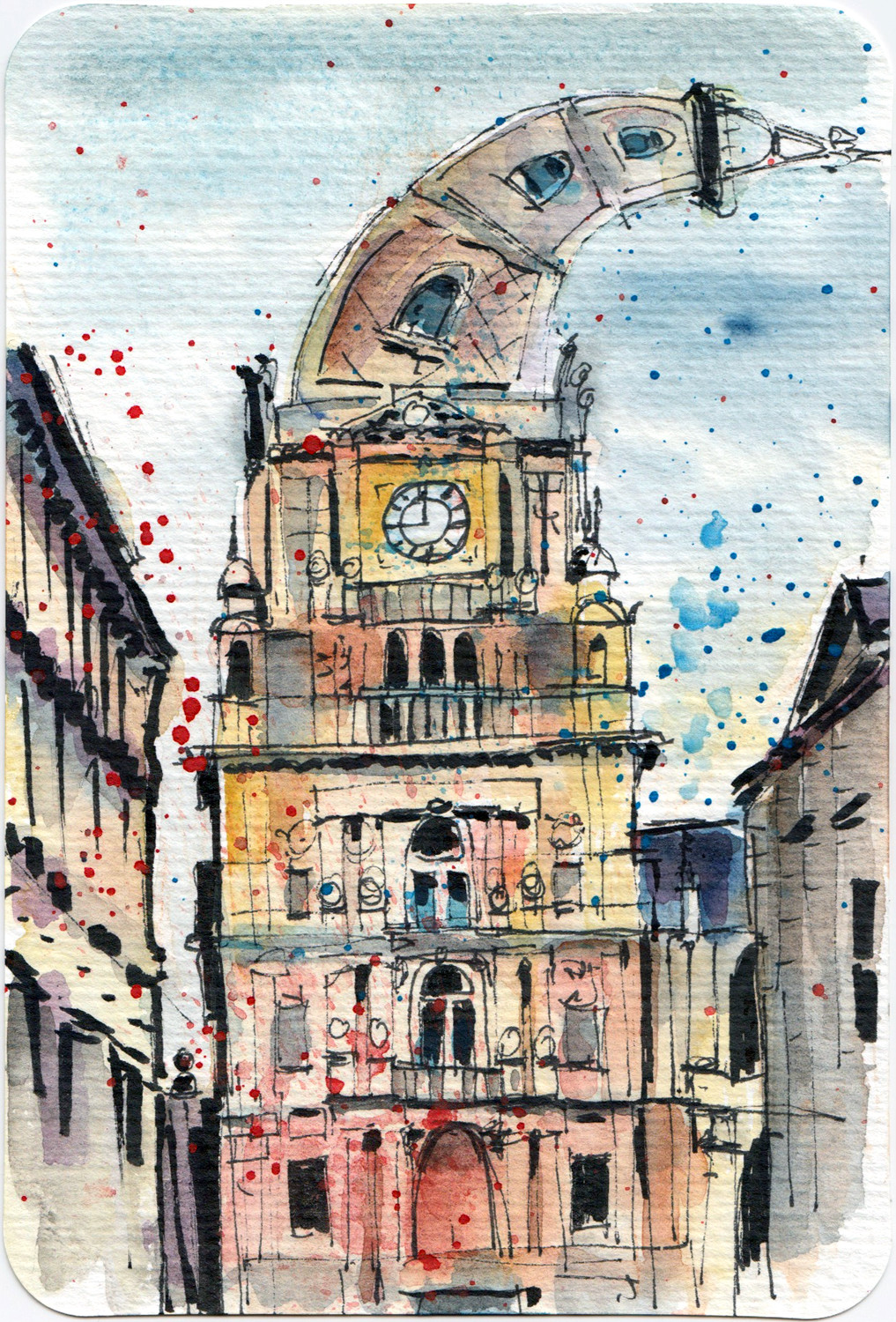 Watercolour postcard - Halifax Town Hall UK by Sophie Peanut