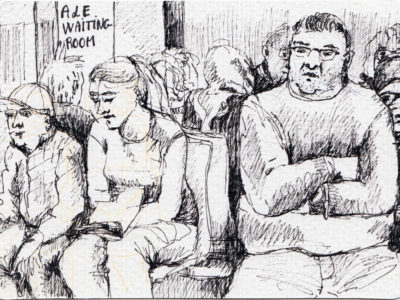 Packed A & E waiting room - sketch by Sophie Peanut