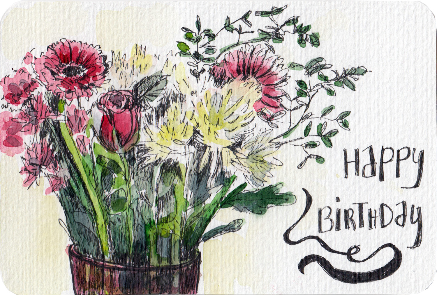 Happy birthday watercolour postcard with bunch of flowers by Sophie Peanut