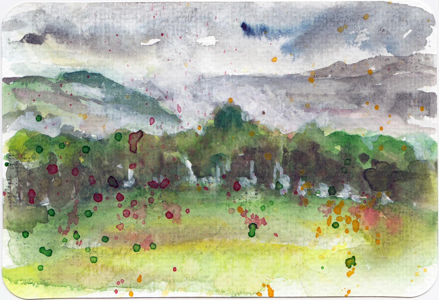 Summer Storm Landscape Postcard in watercolour by Sophie Peanut