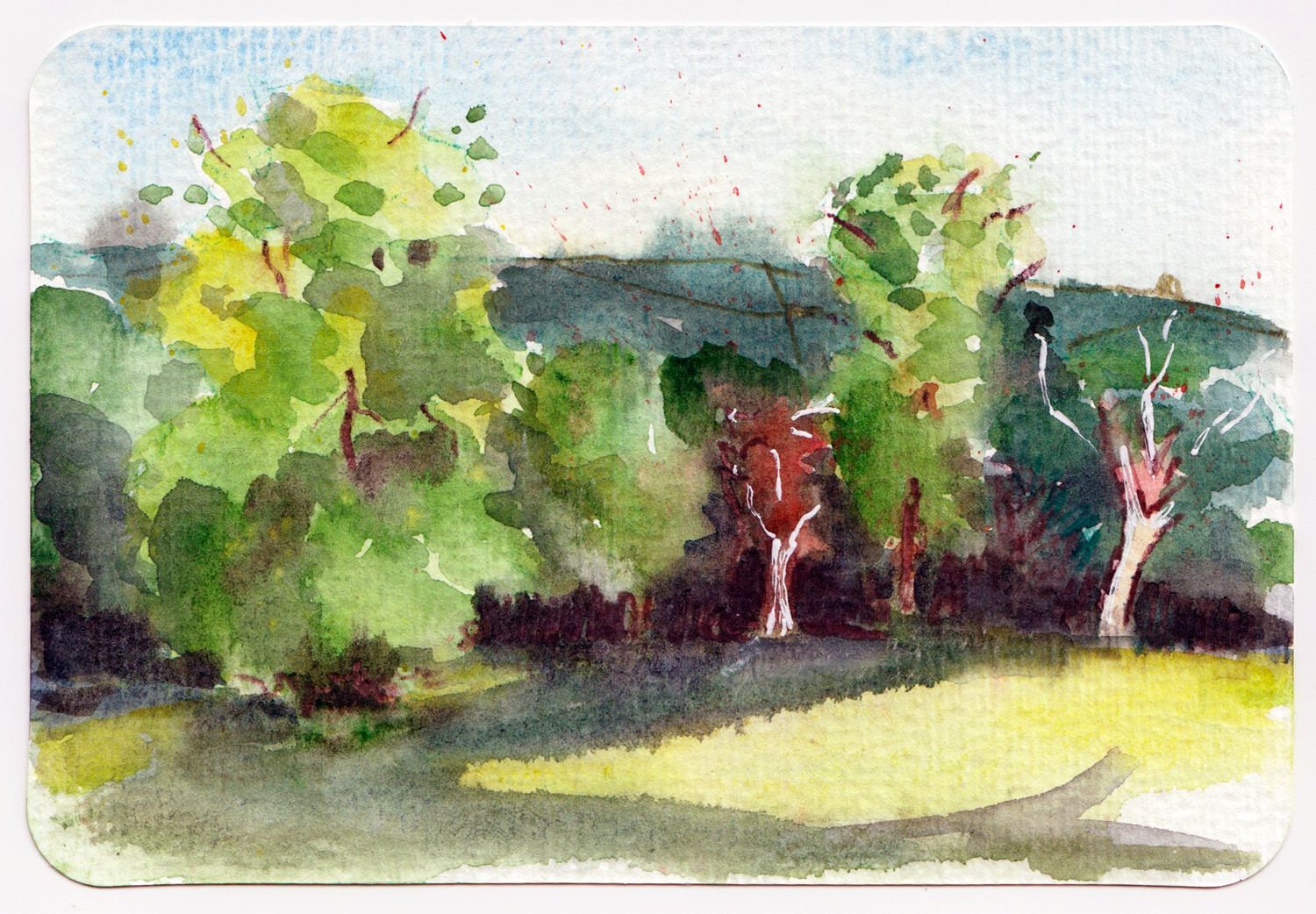Manor Heath Park Halifax UK - Watercolour postcard by Sophie Peanut