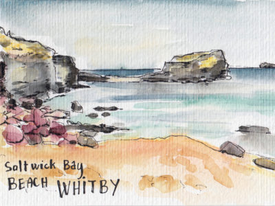 Saltwick Bay Whitby watercolour postcard by Sophie Peanut