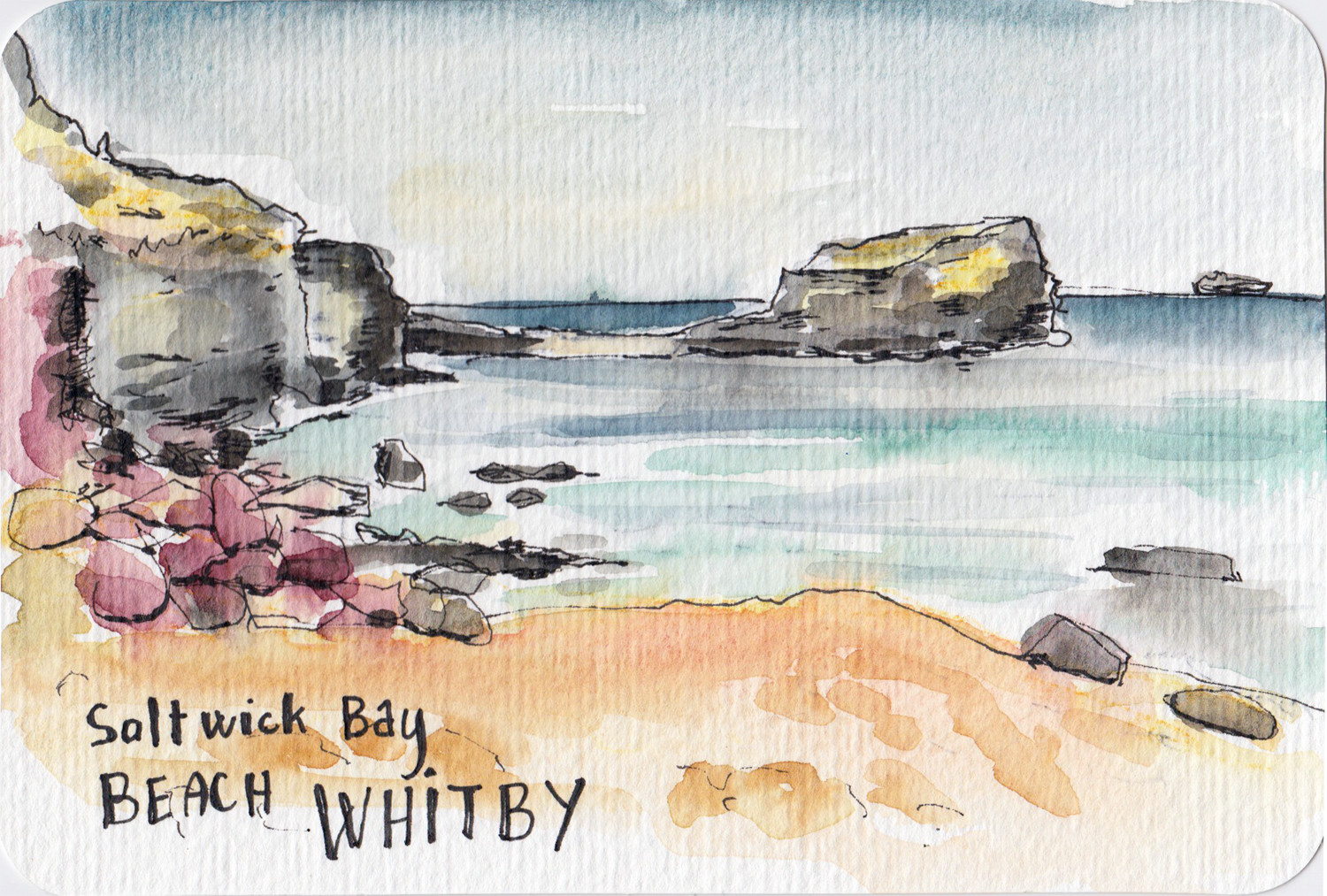 Saltwick Bay Whitby watercolour postcard by Sophie Peanut