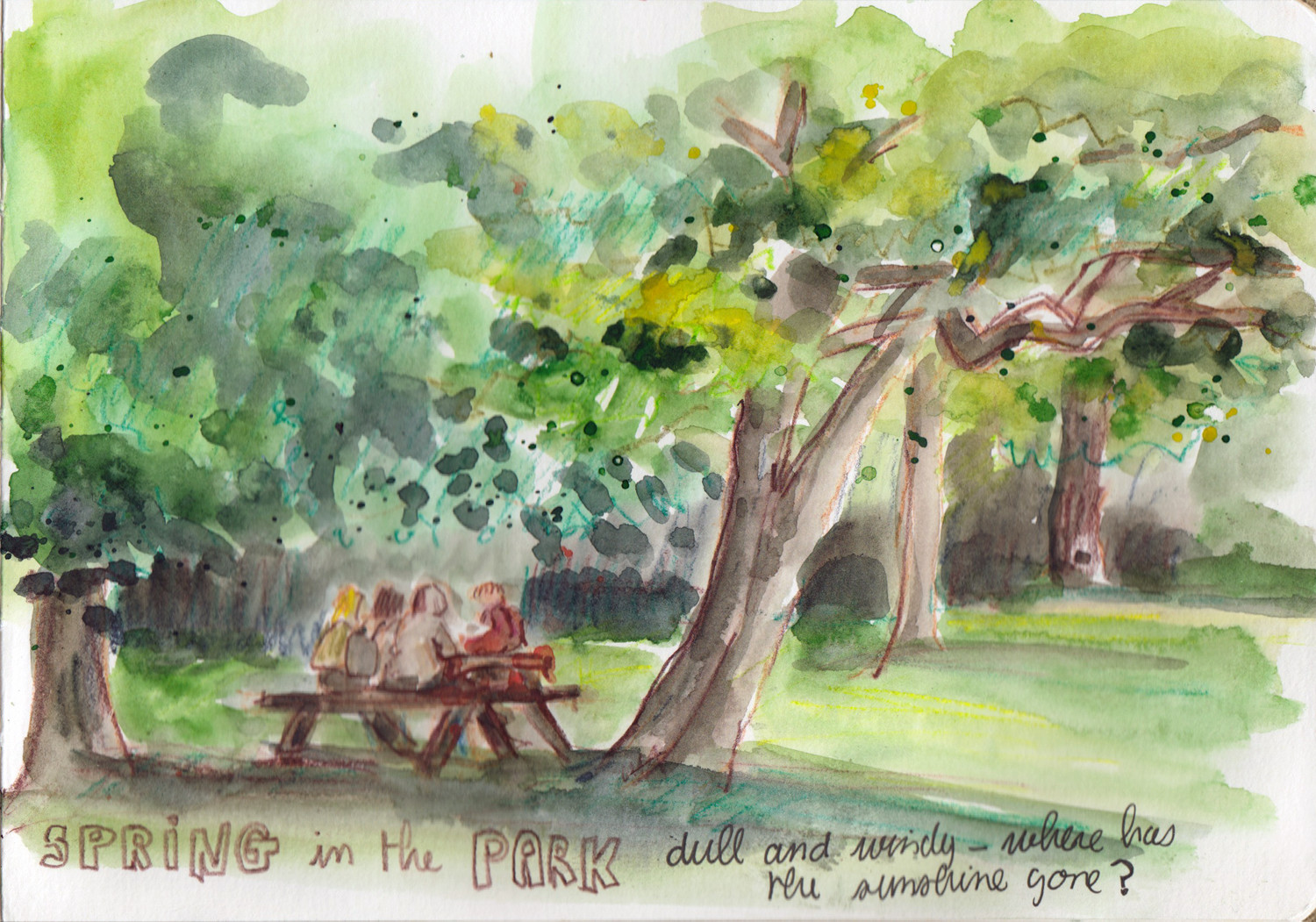 Spring watercolour sketch - Teenagers in the park Sophie Peanut