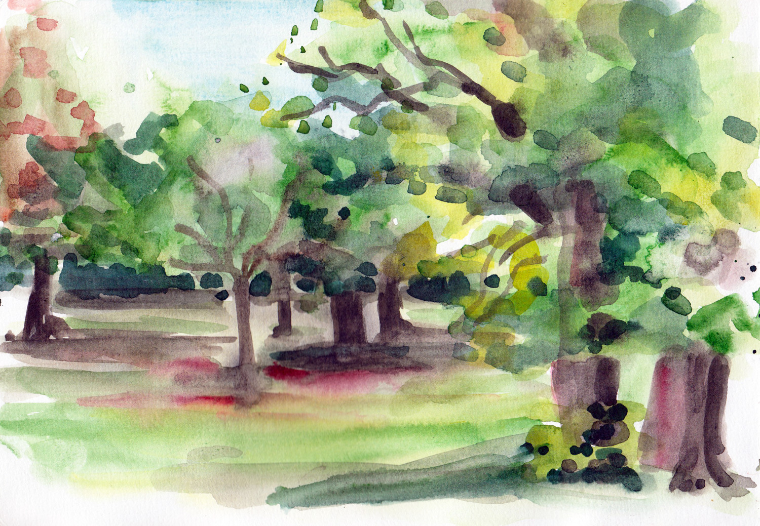 Spring trees painting in watercolour by Sophie Peanut