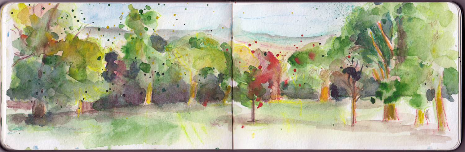 Spring Landscape drawings - Spring trees sketch in watercolour and Inktense pencils by Sophie Peanut