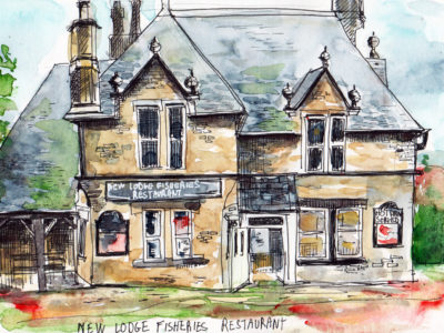 'The Lodge' Savile Park Moor Halifax drawing by Sophie Baxter