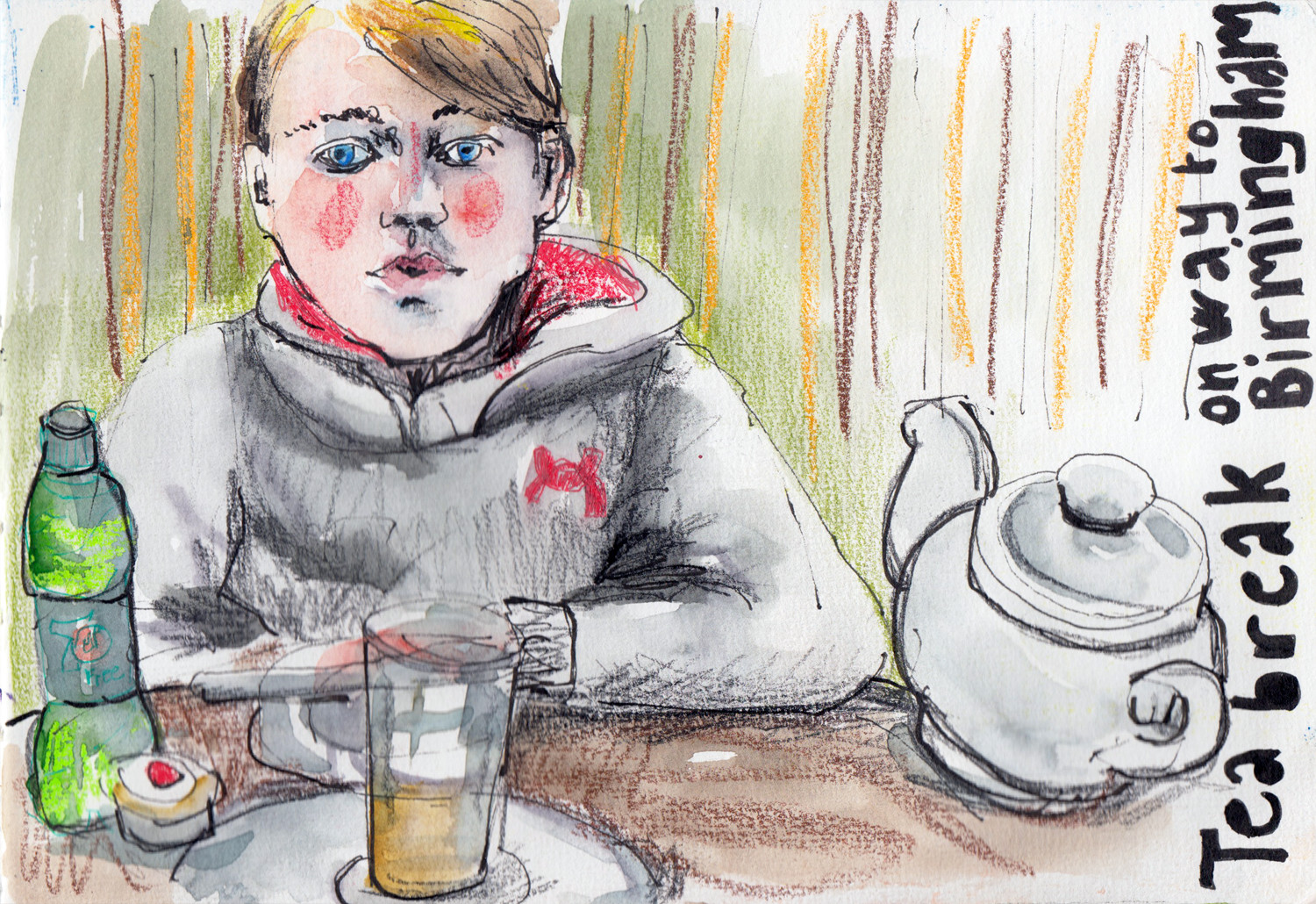 A cafe sketch in mixed media by Sophie Peanut