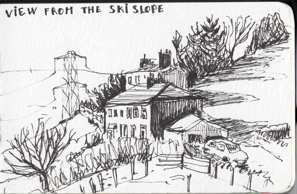 View from the Ski slope - Halifax UK ink sketch by Sophie Peanut