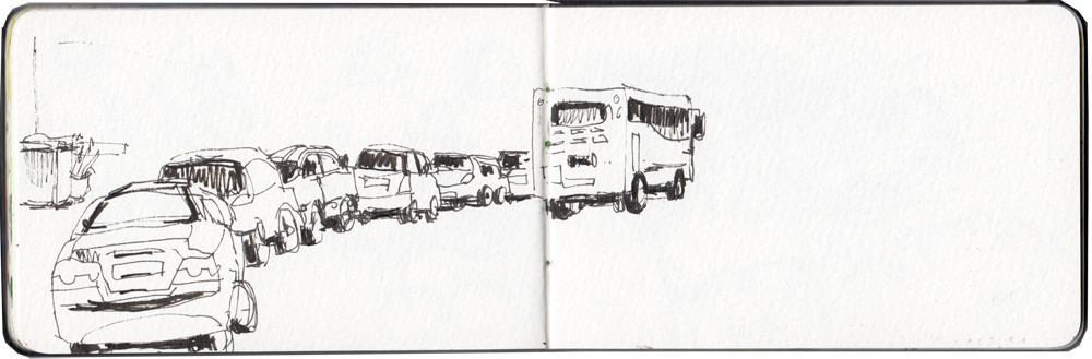 Parked cars - ink sketch by Sophie Peanut