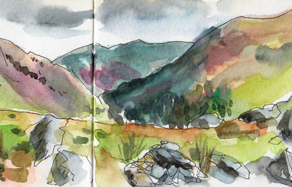 Watercolour sketch at the top of Helm Crag by Sophie Baxter