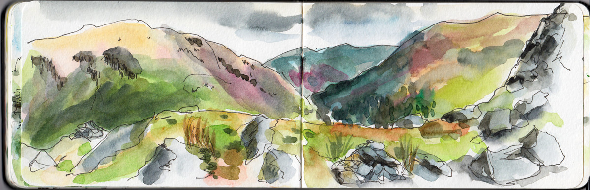 Views from the top of Helm Crag Lake District UK - Sketch by Sophie Peanut