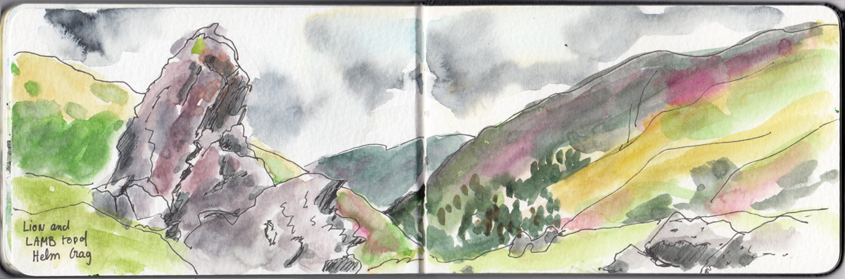 Lion and Lamb Sketch Top of Helm Crag - Lake District - Sophie Peanut