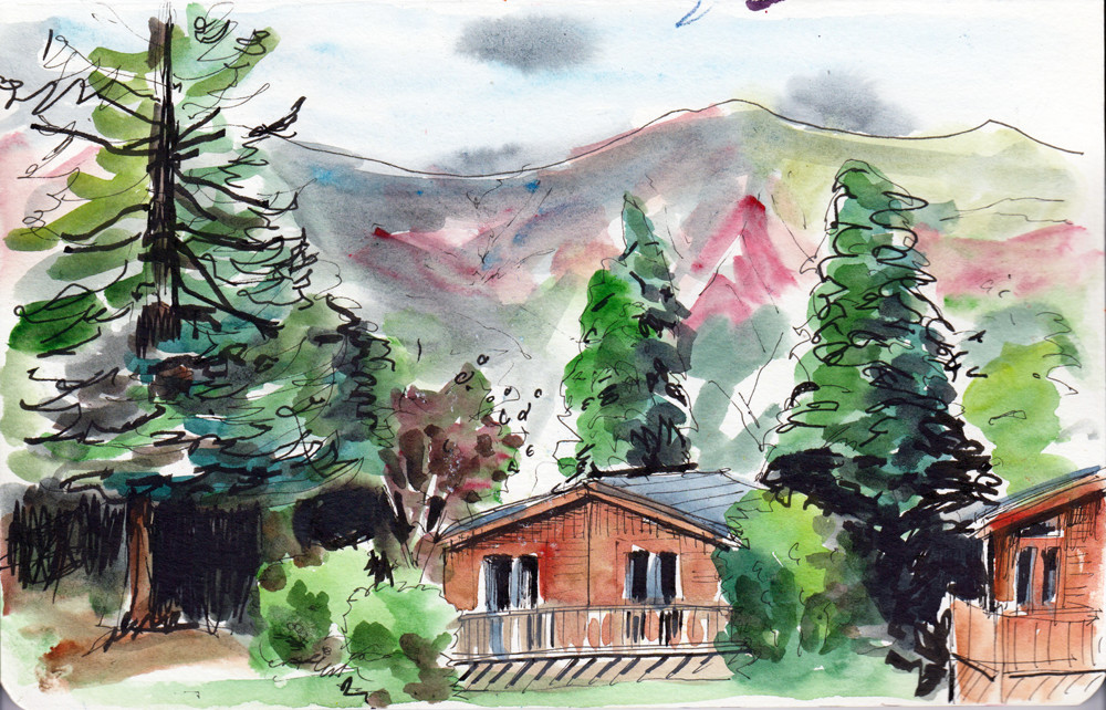 Scenery Sketching - View from Braithwaite's campsite onto Skiddaw By Sophie Baxter