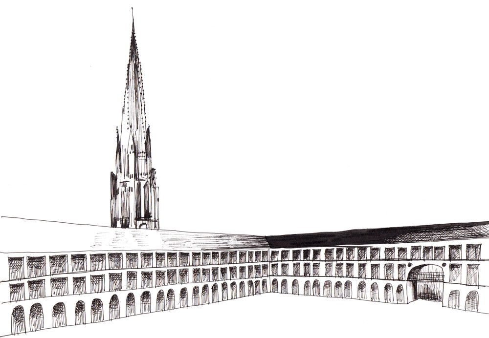 Ink drawing - Piece Hall Halifax by Sophie Peanut
