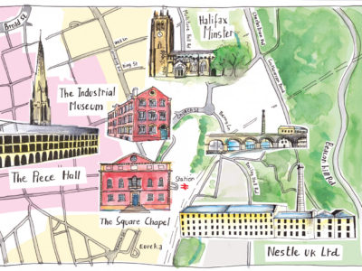Nestle Hand Illustrated Map of Halifax by Sophie Peanu