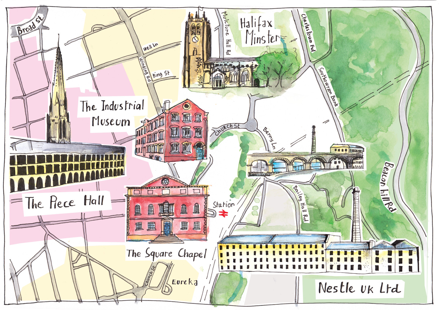 Nestle Hand Illustrated Map of Halifax by Sophie Peanut