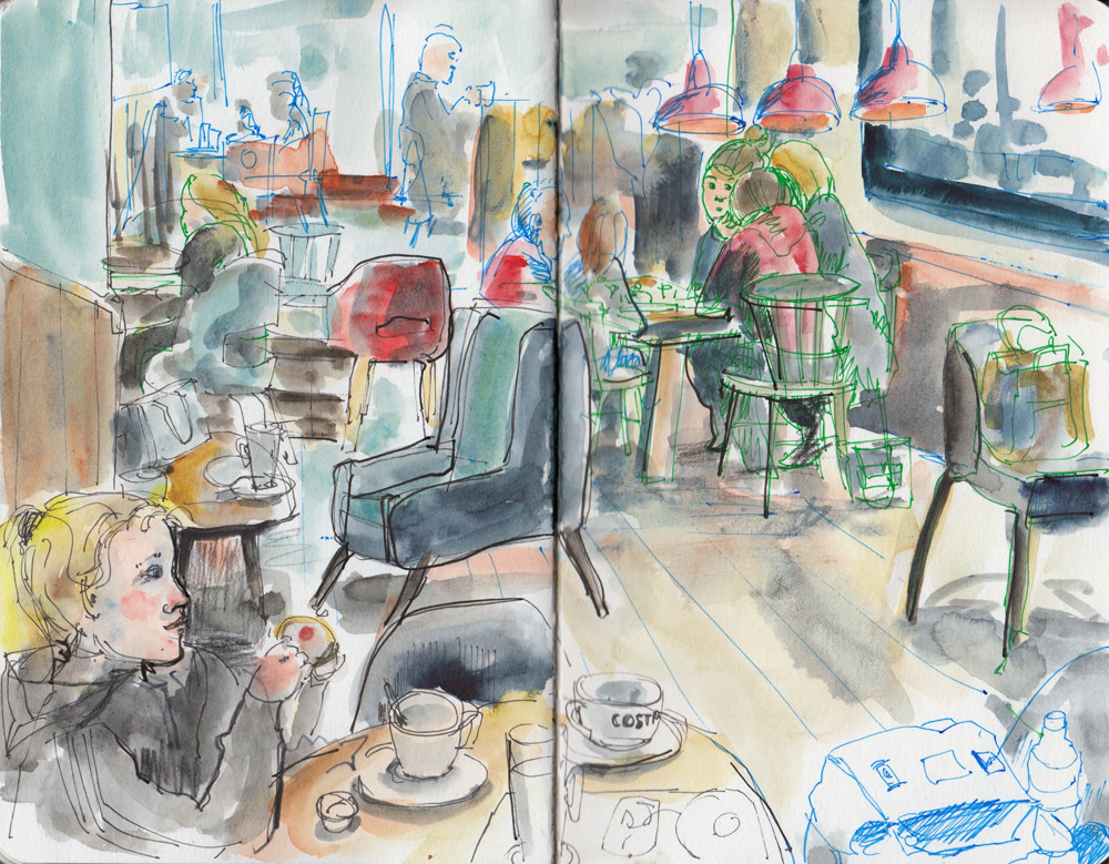 Cafe scene sketch in mixed media by Sophie Peanut