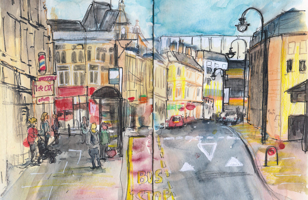 Market Street Halifax UK - Using different Urban Sketching Techniques by Sophie Peanut