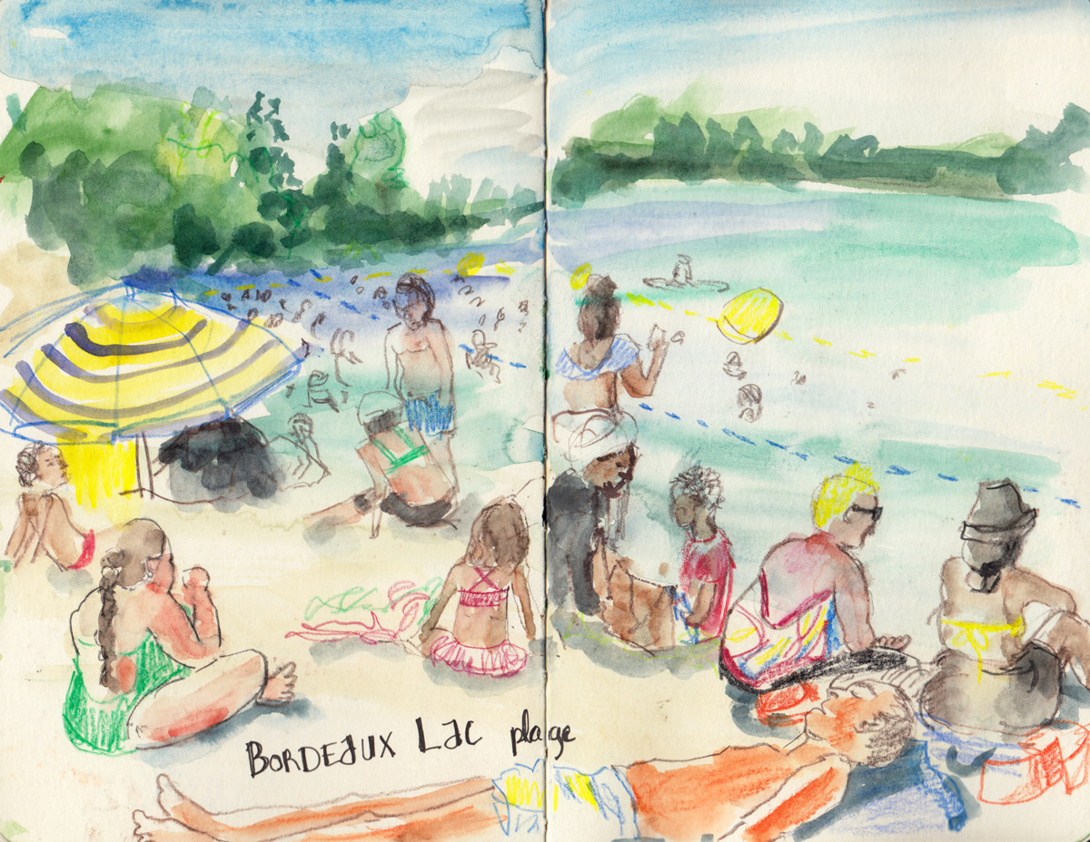Busy Lakeside Scene in pen, Pencil and Watercolour by Sophie Peanut