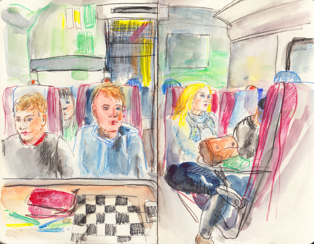 Train Sketch by Sophie Peanut - Mixed media urban sketching techniques