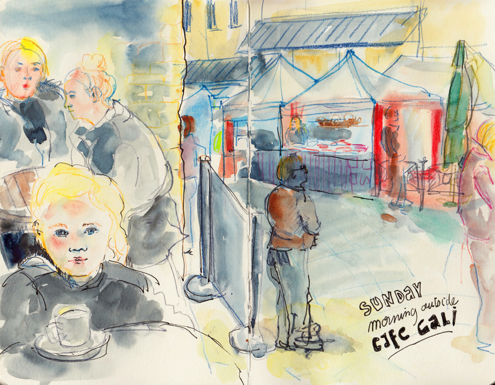 Cafe terrace and street market Halifax by Sophie Peanut