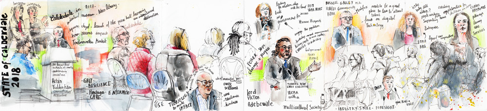 State of Calderdale 2018 - reportage sketches in pen, pencil and watercolour by Sophie Peanut