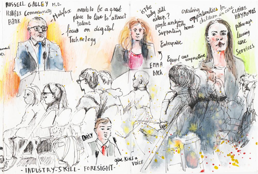 Reportage drawing - Calderdale Vision 2018