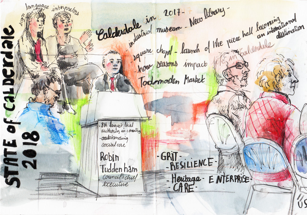 Reportage drawing at conference by Sophie Peanut in Pen, Pencil and Watercolour