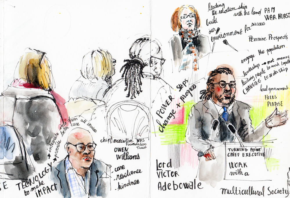 Sate of Calderdale 2018 - reportage sketches in pen, pencil and watercolour by Sophie Peanut