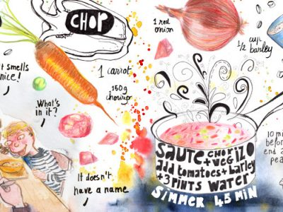 Sausage Soup Illustrated Recipe in Mixed Media by Sophie Peanut