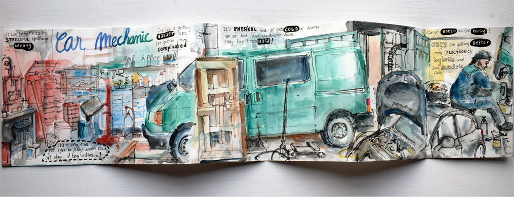 Sam mechanic at work watercolour and watercolour pencil drawings by Sophie Peanut
