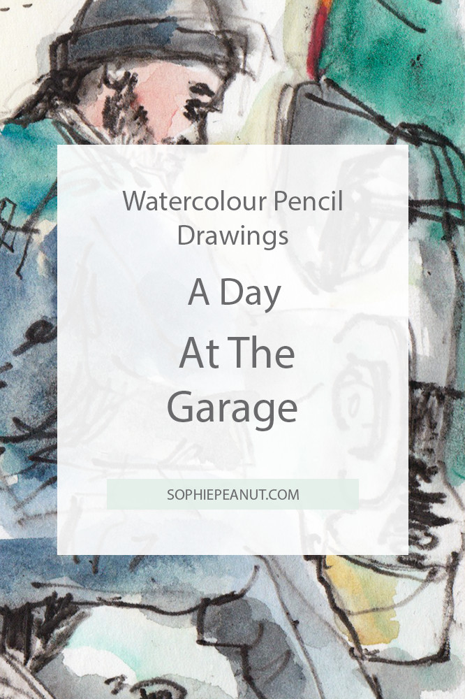Watercolour pencil drawings - A day at the garage Urban sketch by Sophie Peanut
