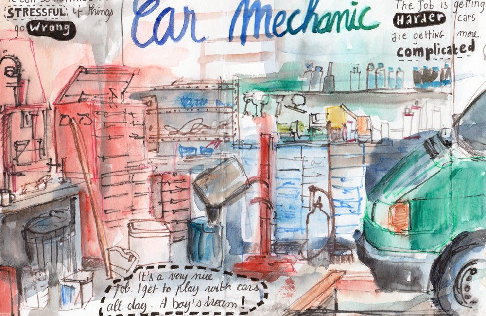 Drawing at the garage - Watercolour pencil drawings by Sophie Peanut