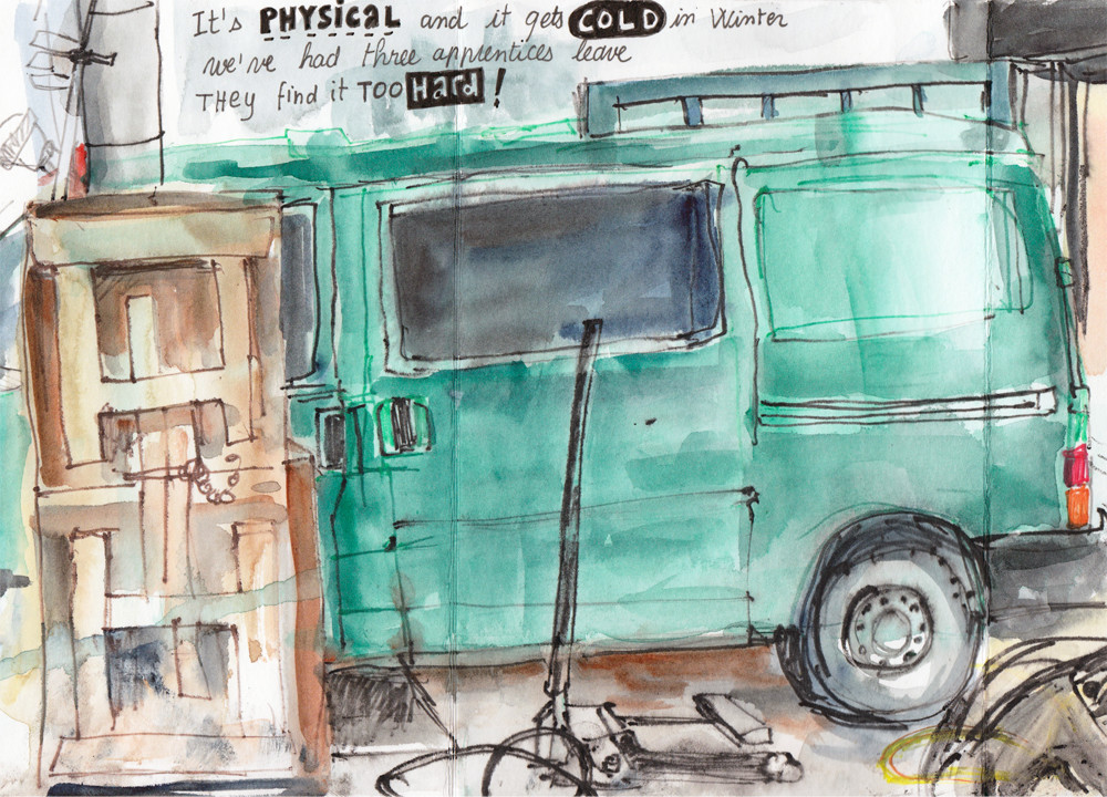 At the garage - Urban sketching drawing by Sophie Peanut