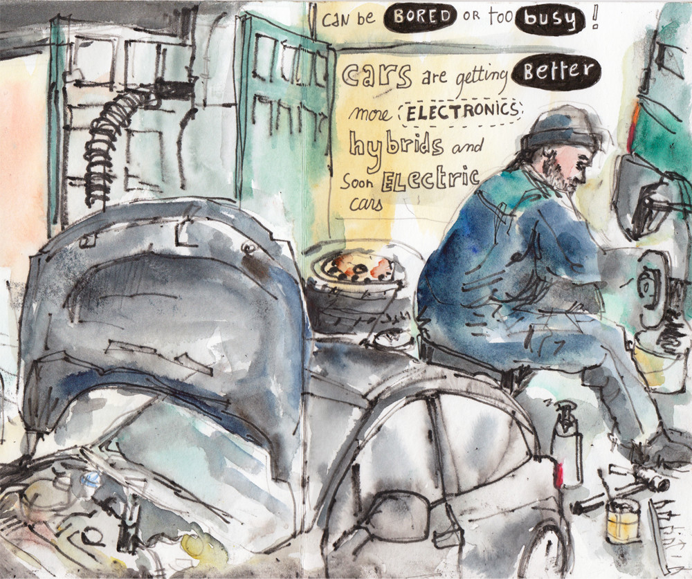 Drawing a mechanic at work in a garage - Urban sketching by Sophie Peanut